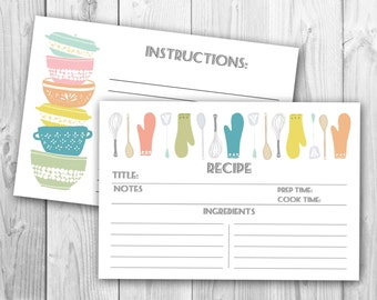 "Modern ""Stackabowls"" Recipe Cards (PRINTABLE FILE)"