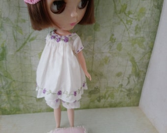 blythe clothes set dress bloomers for pullip Neo blythe licca dal shibajuku hand embroidery outfit doll clothing 1/6 scale vintage style