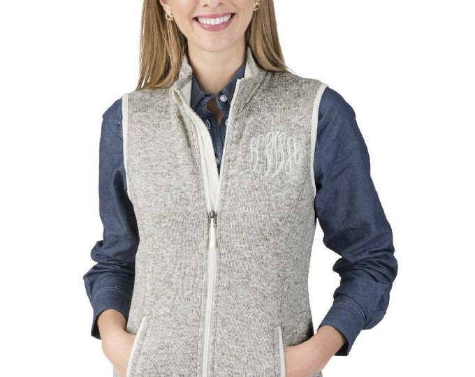 Monogrammed Heathered Fleece Vest, Women's Monogram Vest, Charles River, Monogram Fleece Vest, Monogrammed Gifts, His and Her, Gift for her