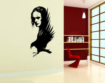 Eric Draven Wall Sticker The Crow Silhouette Animated Interior Designs Comics Art Decorations Removable Housewares Superheroes Decals (4tcw)