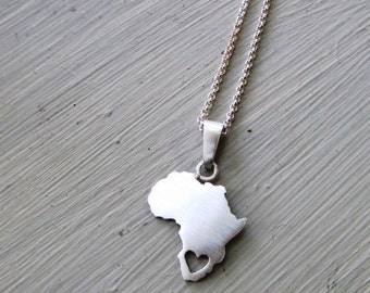 Africa necklace, heart cut out,  South Africa, continent pendant, sterling silver, handmade, chain included, African, africa jewelry