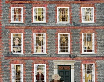 Dr Johnson - Fine Art Print - Naive Art - Literary Art - History - Booklovers Gift - English Dictionary - London - Writers' Houses - Cat