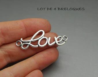 love charm connector silver love (B01)