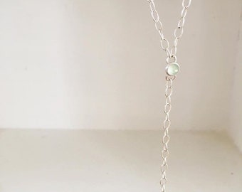 Lariate bar necklace with aqua chalcedony