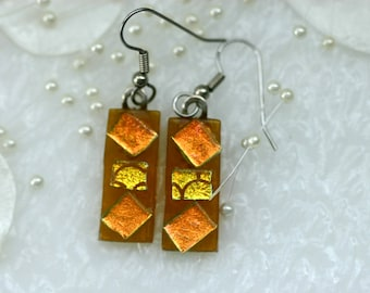 Amber Drop Fused Glass Earrings E-0141, GetGlassy