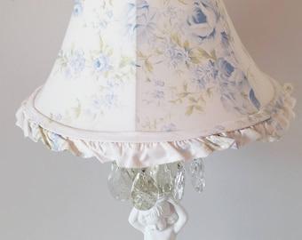"Rachel Ashwell Lamp Shade Blue British Rose Pattern 9"" High Ruffled White Cotton Shabby Chic Romantic Cottage French Farmhouse Style Decor"