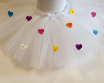 valentines tutu, conversation heart skirt, valentines day skirt, first valentines day, conversation heart tutu, valentines photo prop