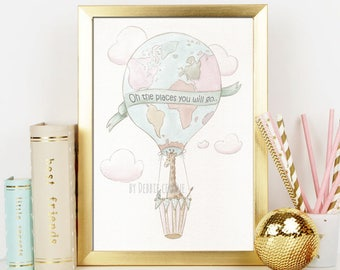 Blush Pink Hot Air Balloons Girls Nursery Wall Art Prints, Personalized Name Newborn Wall Decor, Baby Giraffe Watercolor Poster, 6 Sizes