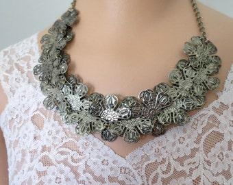 Metal Floral Cluster Vintage  Necklace #029