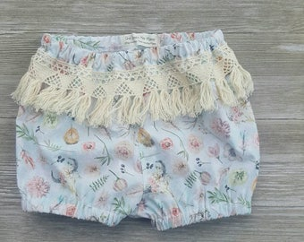 Boho baby bloomers, diaper cover or girls shorts, fringe bloomers, ready to ship