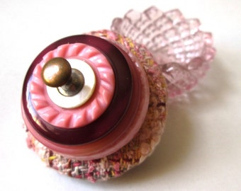 Vintage Button Ring Box and Proposal Box:  Pink Tweed Vintage Button & Light Pink Glass Salt Cellar Jewelry Box