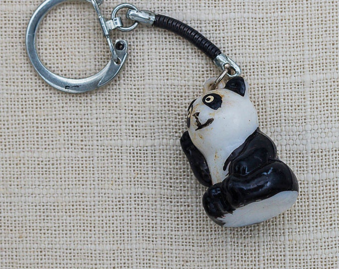 Vintage Panda Bear Keychain Black White Key FOB Key Chain 7FF A