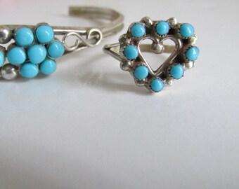 Zuni Petit Point Heart Shaped Turquoise Ring Sterling Silver Ring Turquoise Heart Ring, sz 5.5 Turquoise Ring Sterling Silver Heart