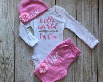 Baby Girl Coming Home Outfit - Personalized Baby Girl Outfit - Baby Girl Hello World Outfit
