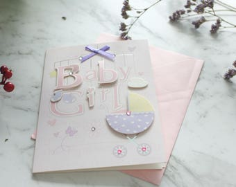 Baby Shower Greeting Card/ Pink and Blue