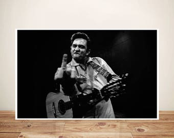 Johnny Cash Poster- Johnny Cash Print- Johnny Cash San Quentin Middle Finger Art Print