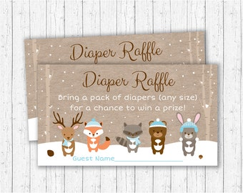 Winter Woodland Forest Animal Diaper Raffle Tickets / Winter Woodland Baby Shower / Winter Forest Animals / Blue / INSTANT DOWNLOAD A122