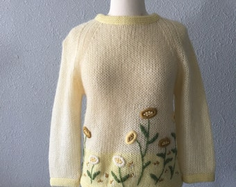 1960's Flower Power Boho Vintage Wool and Mohair Floral Applique Yellow Daisy Sweater by Campus Casuals