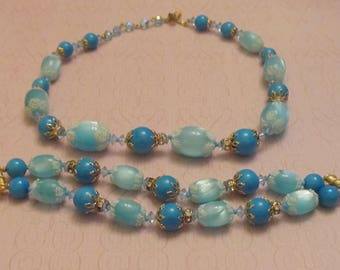 Signed Designer Vendome Gorgeous Blue Bead Necklace and Matching Two Strand Bracelet