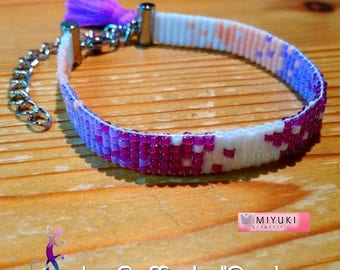 Maro woven bracelet with Miyuki beads in shades of purple and pink
