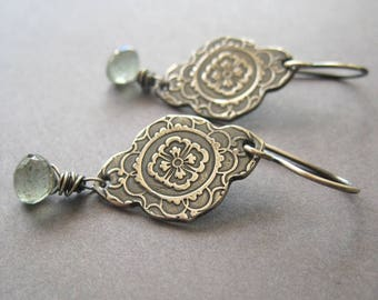 Moss Aquamarine Earrings, Fine Silver Mehndi Design, Spring Cocktail Earrings, Gift for Her, Gift for Mom, Garden Earrings