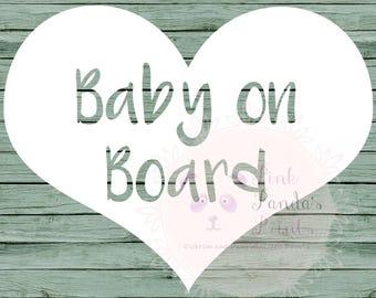 Baby on board, vinyl sticker, car, custom greeting, door sticker, vinyl decal, custom, baby shower, gift, heart, expecting, pregnancy