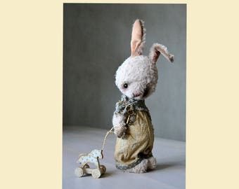 Artist bunny rabbit toy artist teddy bear toy vintage bunny toy ooak toy Made to order stuffed plush bunny stuffed animal toy  jointed teddy