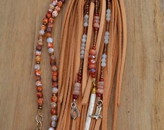 Burnt Orange and White Leather Fringe Necklace