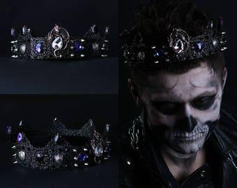 Black crown Spiked, Dragon crown, Black blue, Glam Punk Imperial Crown Costume Crown, Gothic crown, male crown, Mens costume, Halloween