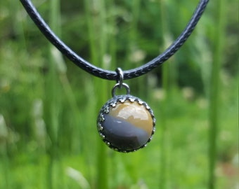 Black & Yellow Bumblebee Handmade Darkened Sterling Silver Kentucky Agate Crown Orb Charm Gothic Circle Pendant on Adjustable Cord Necklace