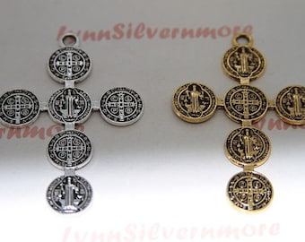 3 pc per pkg - 60x42mm  San Benito Cross Pendant in Antique Gold or Silver  Lead Free Pewter
