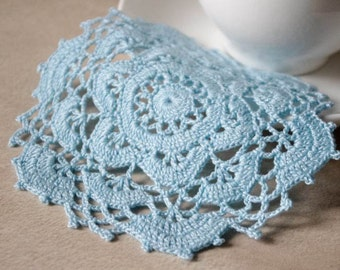 Small crochet doily Blue lace doilies Small crocheted crochet doily Crochet table decoration Round lace doilies crochet coasters 220