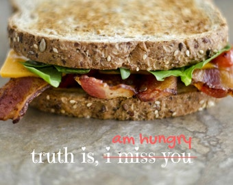 Miss you, Photo Greeting Card, 4x5 missing thinking cards, blank inside, food hungry funny, life event appreciation kind silly bacon