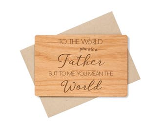 Father's Day Card for Dad. Fathers Day Gift Unique Wood Card. Gift for Him, for Grandfather Birthday Card.