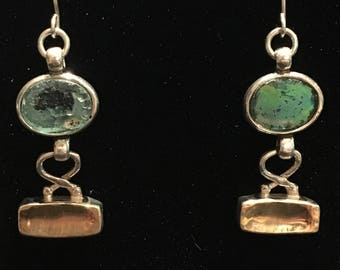 Ancient Roman Glass (500-1000AD) Earrings set in 14kt Gold and Sterling Silver