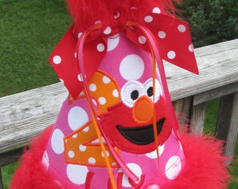 elmo  birthday hat, party hat, smash cake hat, 1st birthday elmo hat, 1st birthday hat, birthday hat,2nd birthday elmo hat,2nd birthday