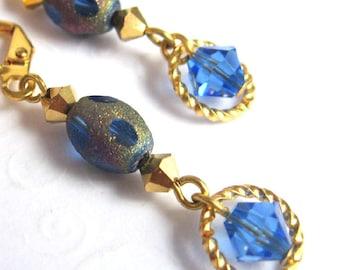 Stardust Bead Earrings, Glass Bead and Sapphire Crystal Dangle Earrings, Fashion Earrings