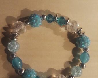 Handcrafted Stretch Bracelet in teal with Swarovski crystals
