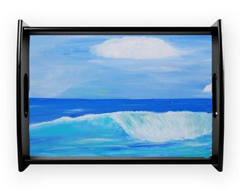 Surf beach coastal serving tray from my art, available in 2 sizes