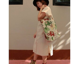 Elephants prints Cotton Canvas Zipper Market Grocery Bag Tote Handbag (HB09)