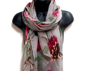 Thistle Flower Gray Scarf,Spring Summer Scarf,Fashion Accessories,Gifts For Her,Gifts For Mother,Printed Scarf,Women Scarf,Christmas Gifts