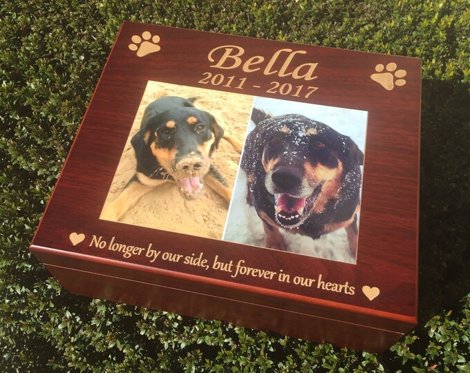 Dog Memory Box, Pet Memorial Keepsake Box, Pet Urn, Dog Urn, Personalized Dog Toy Box, Treat Container, Cat Memorial, In Loving Memory Photo