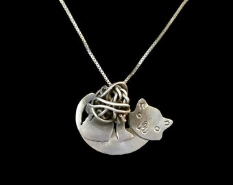 Sterling Silver Playing Kitty, Cat with Yarn Necklace, Sterling Silver Cat Pendant, One of a Kind