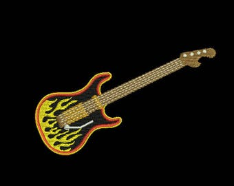 Guitar and Rock Star machine embroidery designs (3 separate files)