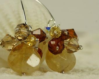 Gemstone Cluster Earrings Citrine Sterling Silver Earrings Dangle Earrings