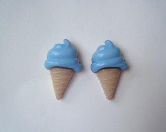 ♥ Blue ice cream cone earrings