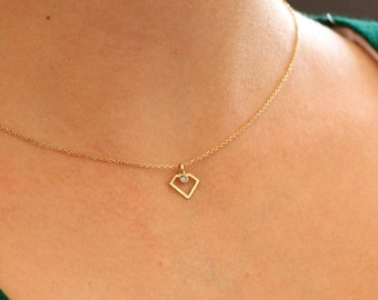 14K Gold Necklace, Dainty Gold Necklace, Gold Diamond Necklace, Diamond Necklace, Tiny Diamond Necklace, Gold Geometric Necklace, GN0330