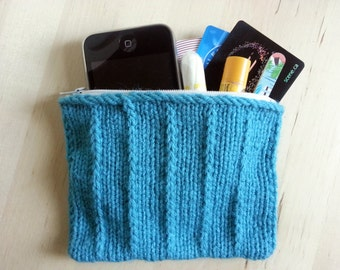 Turquoise Knit Zippered Pouch