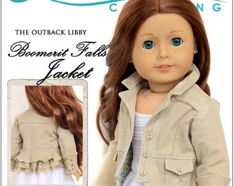Pixie Faire Liberty Jane Boomerit Falls Jacket Doll Clothes Pattern for 18 inch American Girl - Pixie Faire