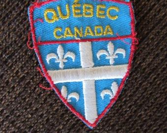 Vintage Quebec Canada Patch Fleur de Lis Free Shipping
